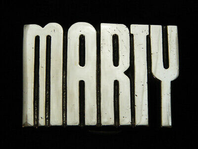 Oh09126 *Nos* Vintage 1978 Cut-Out Name **Marty** Solid Brass Baron Belt Buckle