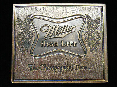 OE11127 *NOS* VINTAGE 1970s **MILLER HIGH LIFE THE CHAMPAGNE OF BEERS** BUCKLE