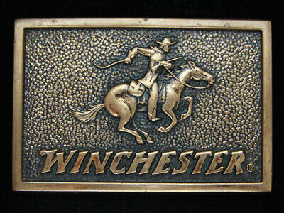 Oe27166 Vintage 1983 **Winchester** Rifle Gun Firearms Solid Brass Bts Buckle