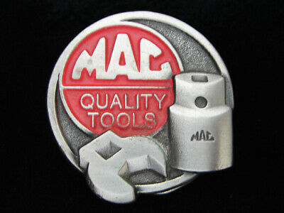 OE09154 *NOS* VINTAGE 1970s **MAC QUALITY TOOLS** COMPANY PEWTER BELT BUCKLE