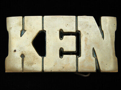 Oe15112 Vintage 1978 Cut-Out Name **Ken** Solid Brass Baron Belt Buckle