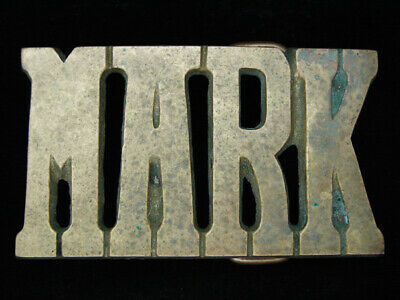 OE15114 VINTAGE 1970s CUT-OUT NAME **MARK** SOLID BRASS BARON BELT BUCKLE