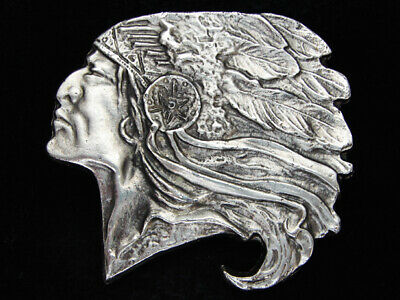 OF05149 *NOS* 1970s **CHIEF JOSEPH** INDIAN CHIEF PEWTER INSTYLE BELT BUCKLE