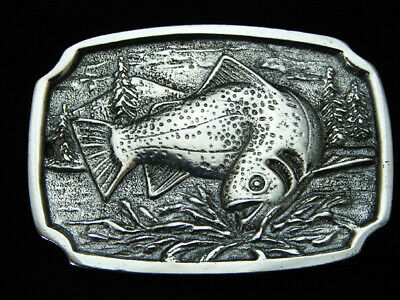 OH03121 VINTAGE 1970s **TROUT FISH** FISHING CHROME OVER SOLID BRASS BTS BUCKLE