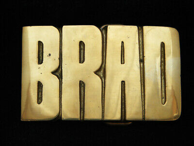 OG13157 *NOS* VINTAGE 1970s CUT-OUT NAME **BRAD** SOLID BRASS BARON BELT BUCKLE
