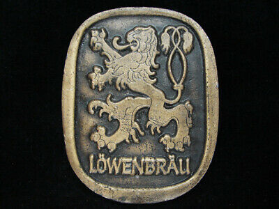 OF07123 VINTAGE 1970s **LOWENBRAU** BEER BREWING COMPANY BRASSTONE BELT BUCKLE