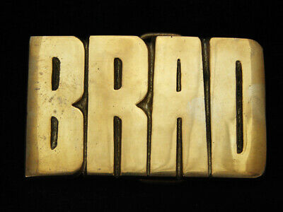 OG13158 *NOS* VINTAGE 1970s CUT-OUT NAME **BRAD** SOLID BRASS BARON BELT BUCKLE