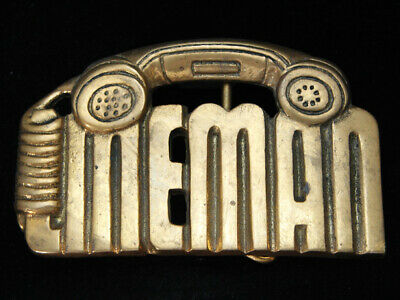 Og03130 *Nos* Vintage 1981 Cut-Out *Telephone Lineman* Solid Brass Baron Buckle