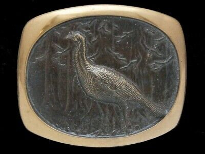 Oh03130 Vintage 1978 *Pheasant* Stephen L. Knight Art Solid Brass Bts Buckle