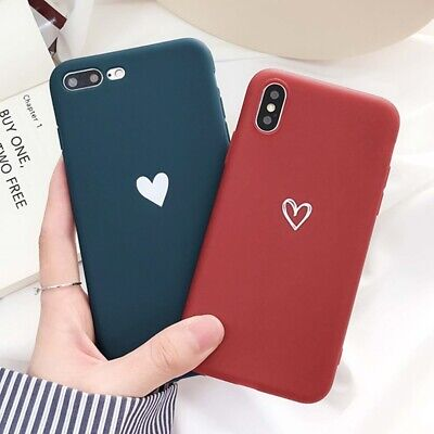 For Silicone Case iPhone X XR XS MAX 6 8 7 Plus Hybrid Rubber Cute Heart Cover