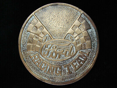 OI11159 VINTAGE 1970s **FORD RACING TEAM** SPORTS SOLID BRASS BARON BELT BUCKLE