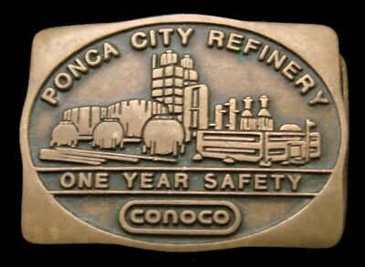 Pa02181 Great 1982 ***Conoco*** Ponca City Refinery Solid Brass Oil & Gas Buckle