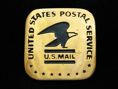 PA11133 *NOS* VINTAGE 1970s **UNITED STATES POSTAL SERVICE** SOLID BRASS BUCKLE