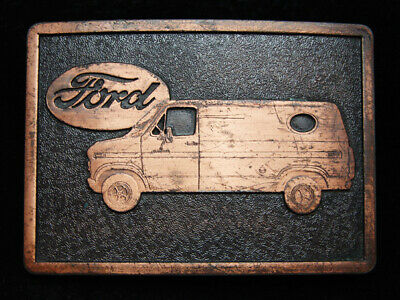 PA13123 VINTAGE 1970s **FORD VAN** COPPERTONE METAL BELT BUCKLE