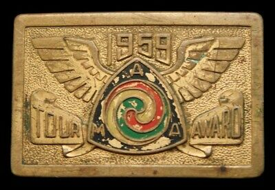 Pa14116 Great Vintage 1959 **Ama Gypsy Tour** Motorcycle Solid Brass Belt Buckle