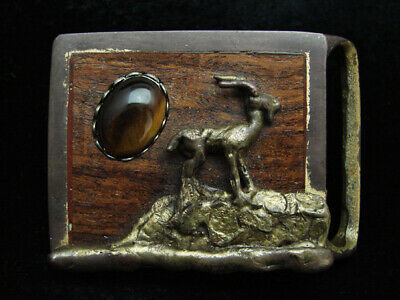 OH15166 VINTAGE 1970s **ANTELOPE** TIGER EYE & ROSEWOOD INLAYS BELT BUCKLE