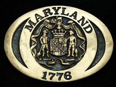 Oj07108 Vintage 1978 *Maryland 1776* Statehood Commemorative Solid Brass Buckle