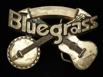 Oi11147 Vintage 1980 **Bluegrass Music** Commemorative Solid Brass Baron Buckle