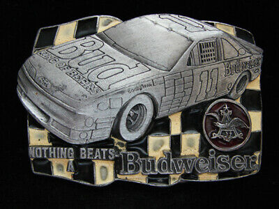 Oh11145 *Nos* Vintage 1992 **Nothing Beats A Budweiser** Beer & Racing Buckle