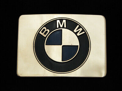 PB09150 VINTAGE 1970s **BMW** AUTO CAR COMPANY POLISHED SOLID BRASS BELT BUCKLE