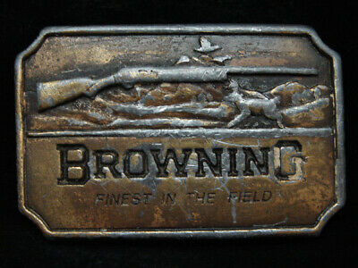PA13117 VINTAGE 1970s **BROWNING FINEST IN THE FIELD** GUN & HUNTING BELT BUCKLE