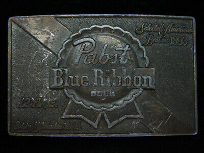 OI13107 VINTAGE 1970s **PABST BLUE RIBBON BEER** BREWING CO. BRASSTONE BUCKLE