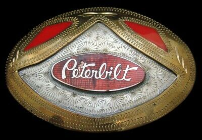 OI14189 AWESOME VINTAGE 1970s ***PETERBILT*** TROPHY STYLE GERMAN SILVER BUCKLE