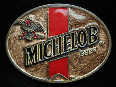 PA15119 VINTAGE 1970s **MICHELOB BEER** ANHEUSER-BUSCH PEWTER BELT BUCKLE