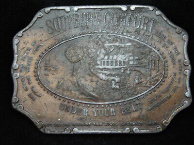 PA09143 VINTAGE 1970s **SOUTHERN COMFORT UNDER YOUR BELT** BOOZE BERGAMOT BUCKLE