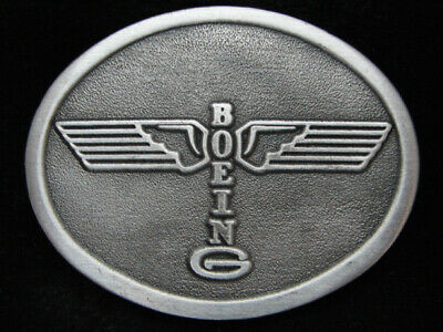 PB07148 *NOS* VINTAGE 1970s **BOEING** AIRCRAFT & AVIATION PEWTER BELT BUCKLE