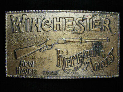 PB11125 *NOS* VINTAGE 1970s **WINCHESTER REPEATING ARMS** BRASSTONE BELT BUCKLE