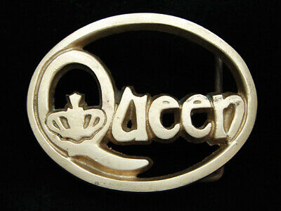 PB01160 VINTAGE 1970s **QUEEN** MUSIC COMMEMORATIVE SOLID BRASS BARON BUCKLE