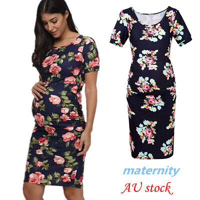 Pregnant Maternity Women Summer Floral Printed Casual Beach Party Dress AU Stock