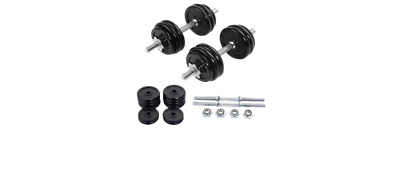 Workout 66 LB Weight Dumbbell Set Adjustable Cap Gym Barbell Iron Plates Body