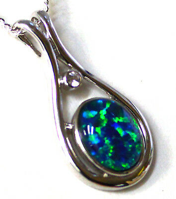 Natural Black Triplet Australia Opal Pendant Solid Silver Set 9.30cts 26x13x5mm