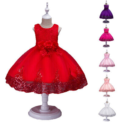 Kids Baby Flower Girls Lace Dress Wedding Birthday Princess Party Formal Dresses