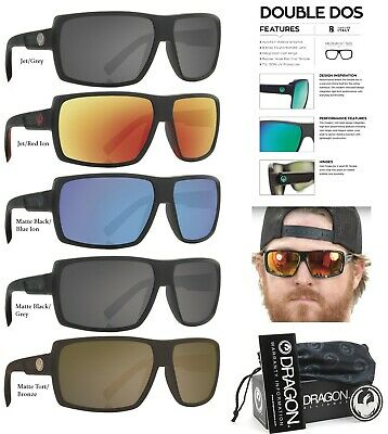 NEW Dragon Double Dos H20 Black Polarized Mens Wrap Floating Sunglasses Msrp$180