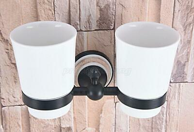 Black Oil Brass Wall Mount Bathroom Toothbrush Holder With Double Ceramics Cups
