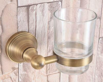 Antique Brass Wall Mounted Toothbrush Holder with Glass Cup Bathroom Accessories