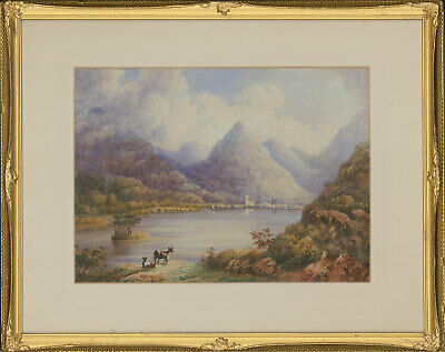 Framed Early 20th Century Watercolour - Highland Cattle Scene