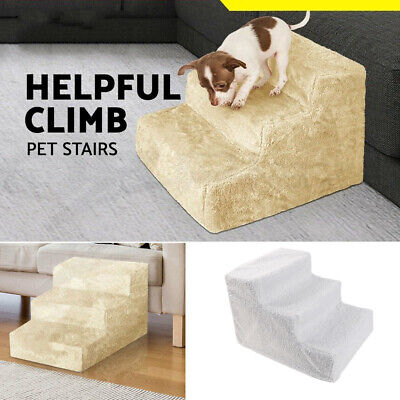 Pet Stairs 3 Steps Soft Cat Dog Step Ramp Small Climb Ladder W/ Cover Bed Sofa