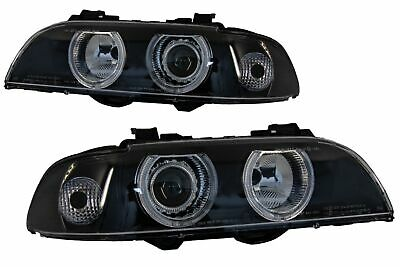 Angel Eyes Fari Fanali  Per  BMW Serie 5 E39 Berlina Touring 96-03 Nero Grigio L