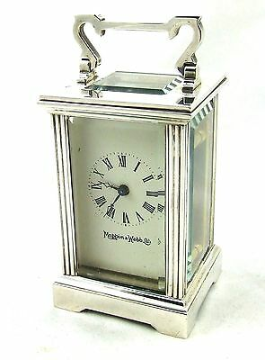 Miniature MAPPIN & WEBB Carriage Mantel Clock Timepiece with Key Working Order