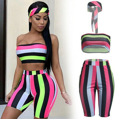 Crop Tops Three Pieces Set  Beach Outfits Shorts Suits  Striped Tracksuit