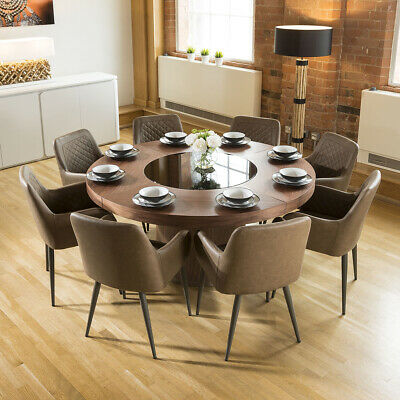 Large Walnut Round 1.6m Dining Table + 8 x Antique Brown Carver Chairs