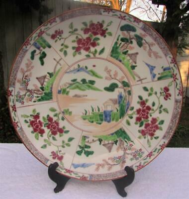 "Large 15"" Japanese Antique Meiji Aoki Arita Charger - Polychrome Decoration"