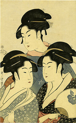 "Meiji era UTAMARO Japanese woodblock reprint ""THREE BEAUTIES OF THE PRESENT DAY"""