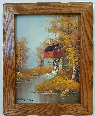 Vintage Framed Autumn Grist Mill Oil Painting Robert Moore HANDSOME OAK FRAME