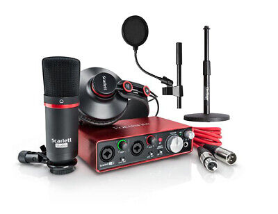Focusrite Scarlett 2i2 Studio (2nd Gen) Audio Interface Podcast Recording Bundle