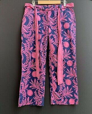 Lilly Pulitzer Women's capris Pants Tropical Size 0 Pink And Blue 4 Pocket